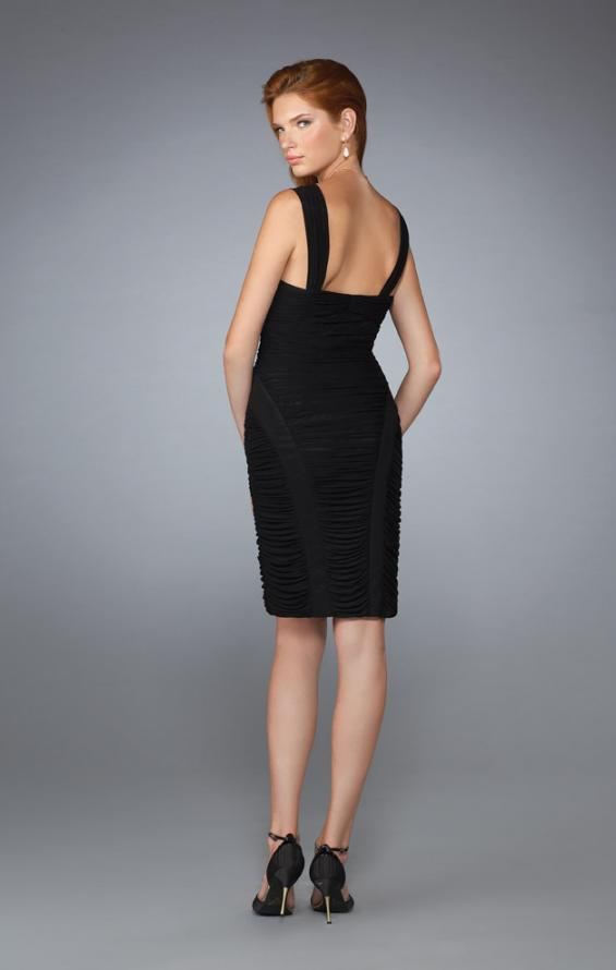 Picture of: Fully Ruched Cocktail Dress with Sweetheart Neckline in Black, Style: 13522, Back Picture