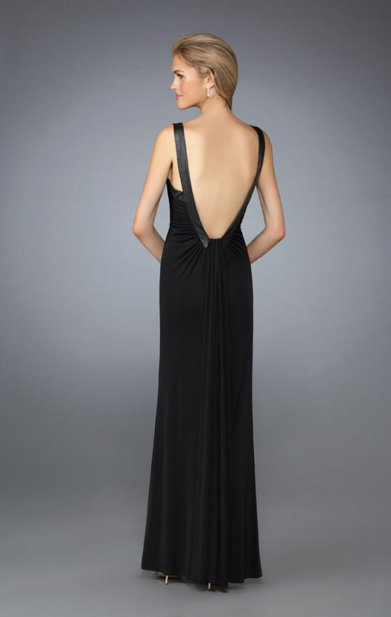 Picture of: Sweetheart Neckline Ruched Dress with Low Back in Black, Style: 13670, Back Picture