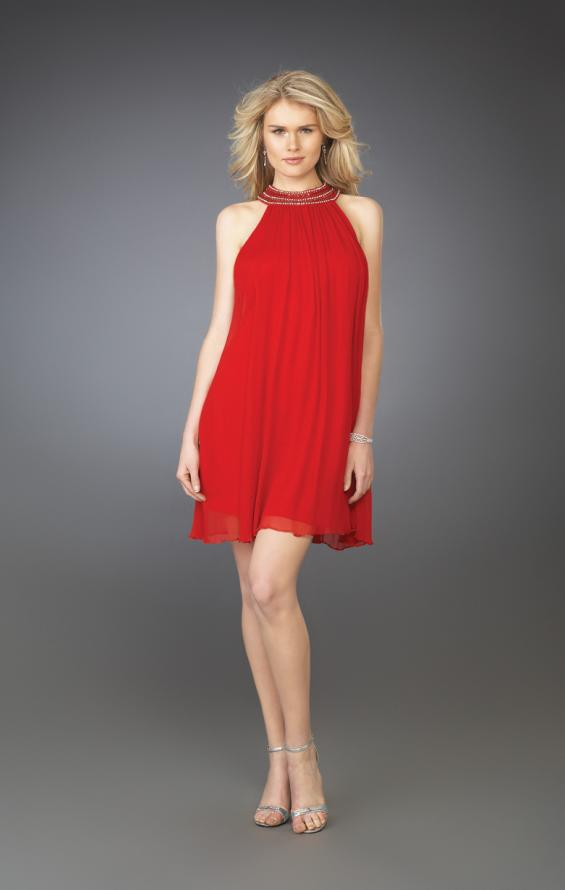 Picture of: Pleated Halter Cocktail Dress with Fully Beaded Straps in Red, Style: 13963, Main Picture