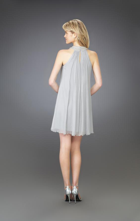 Picture of: Pleated Halter Cocktail Dress with Fully Beaded Straps in Silver, Style: 13963, Back Picture