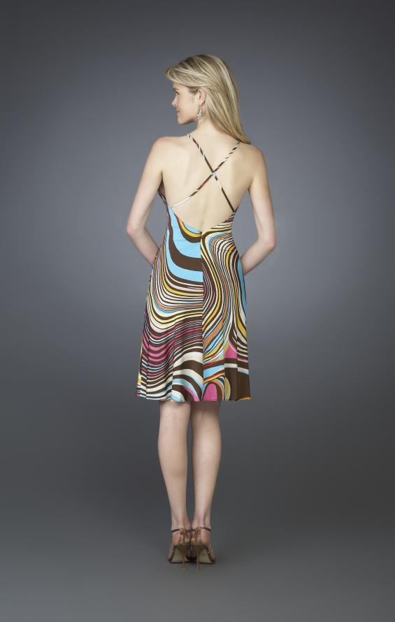 Picture of: Printed Halter Cocktail Dress with Criss Cross Back in Multi, Style: 14027, Back Picture