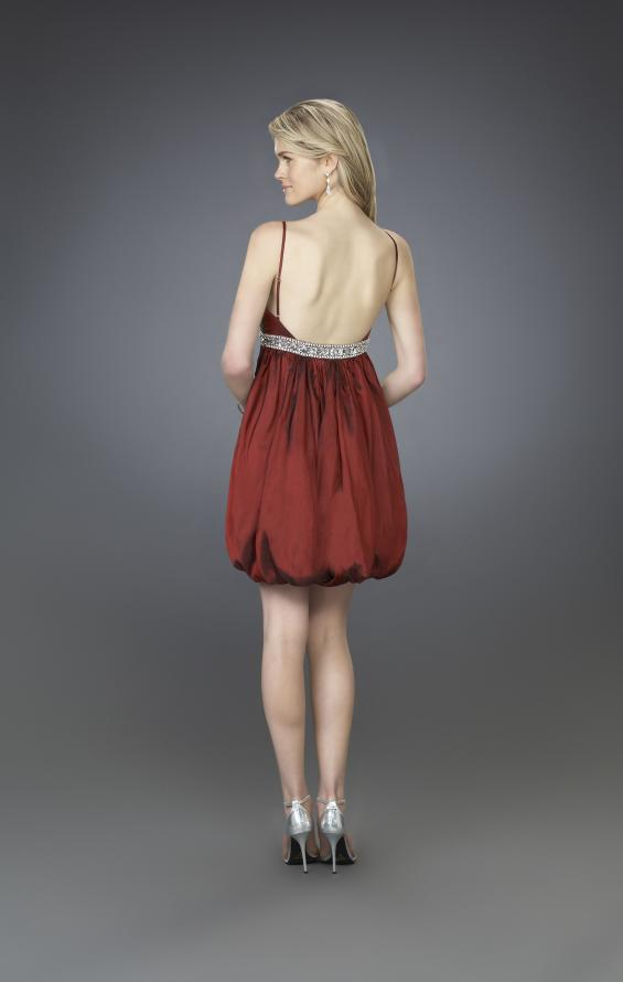 Picture of: Short Cocktail Dress with Bubble Skirt and Beaded Belt, Style: 14051, Back Picture