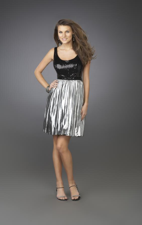 Picture of: Short Cocktail Dress with Beaded Bodice in Black Multi, Style: 14083, Main Picture
