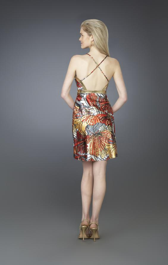 Picture of: Sweetheart Neckline Printed Short Halter Dress in Multi, Style: 14125, Back Picture