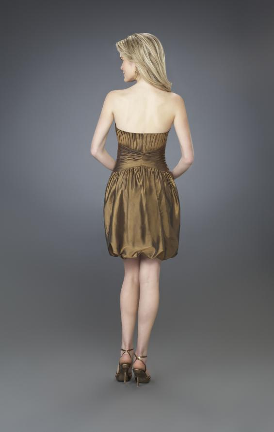 Picture of: Strapless Cocktail Dress with Sweetheart Neck and Pleats, Style: 14126, Back Picture