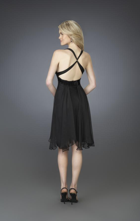 Picture of: Short Halter Cocktail Dress with Beaded Belt and Low Back in Black, Style: 14129, Back Picture