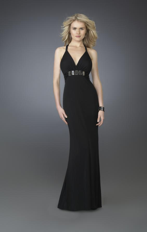 Picture of: V Neck Prom Dress with Beaded Belt and Low Back in Black, Style: 14153, Main Picture