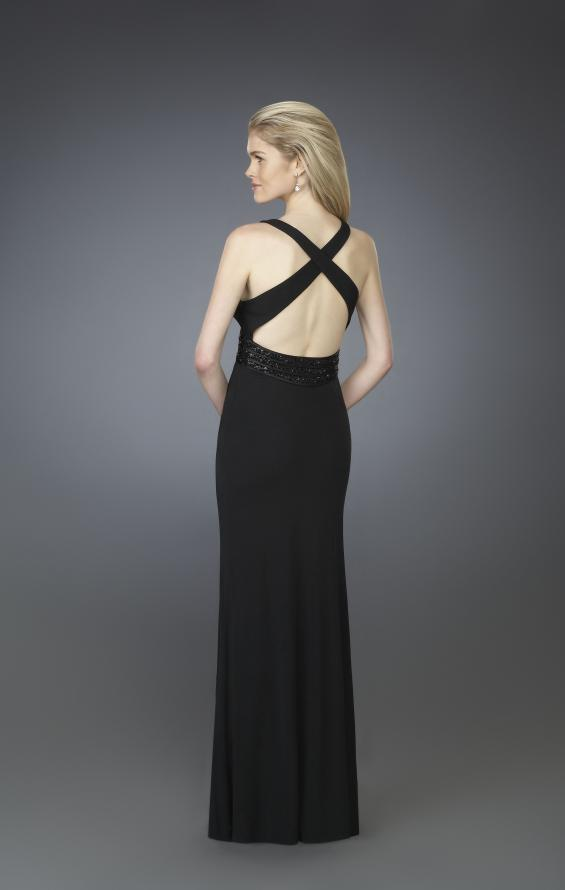Picture of: V Neck Prom Dress with Beaded Belt and Low Back in Black, Style: 14153, Back Picture