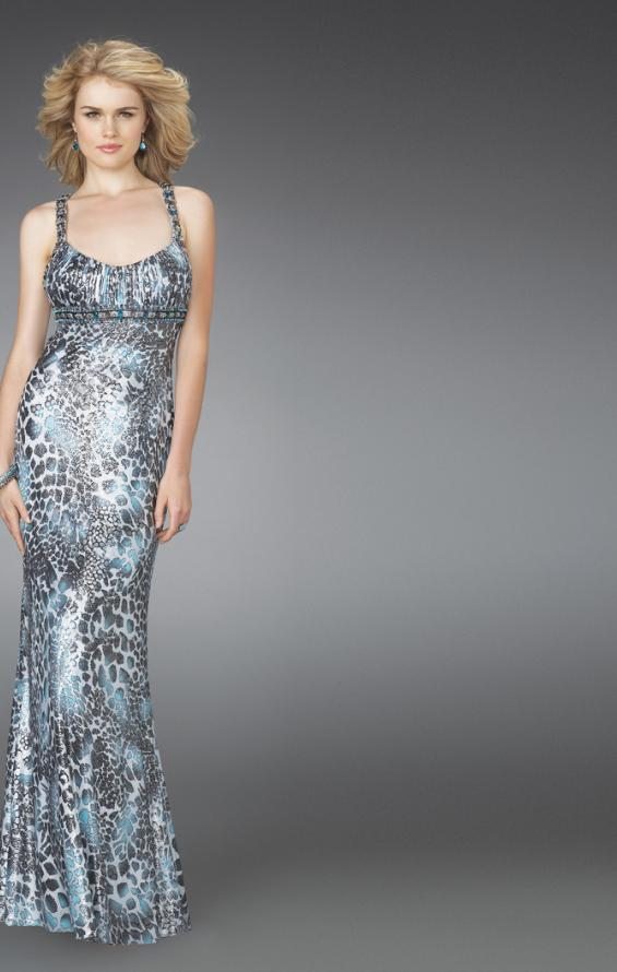 Picture of: Printed Scoop Neck Prom Dress with Open Crossed Back in Multi, Style: 14185, Main Picture