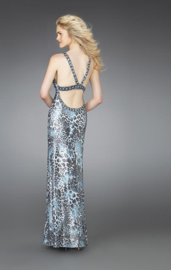 Picture of: Printed Scoop Neck Prom Dress with Open Crossed Back in Multi, Style: 14185, Back Picture