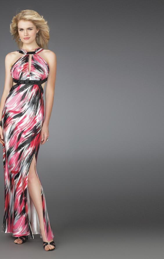 Picture of: Printed Halter Dress with Beaded Straps and Cut Outs in Multi, Style: 14209, Main Picture