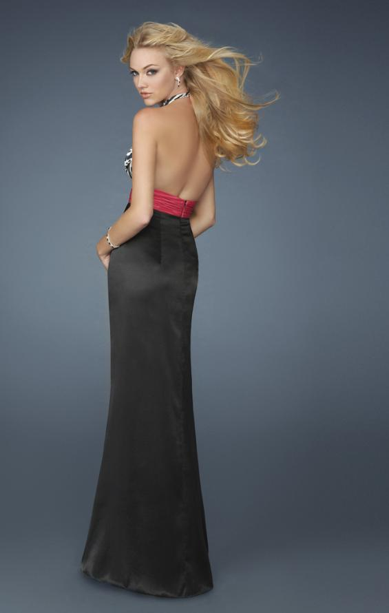 Picture of: Long Halter Prom Dress with Printed Bodice and Slit in Multi, Style: 14308, Back Picture