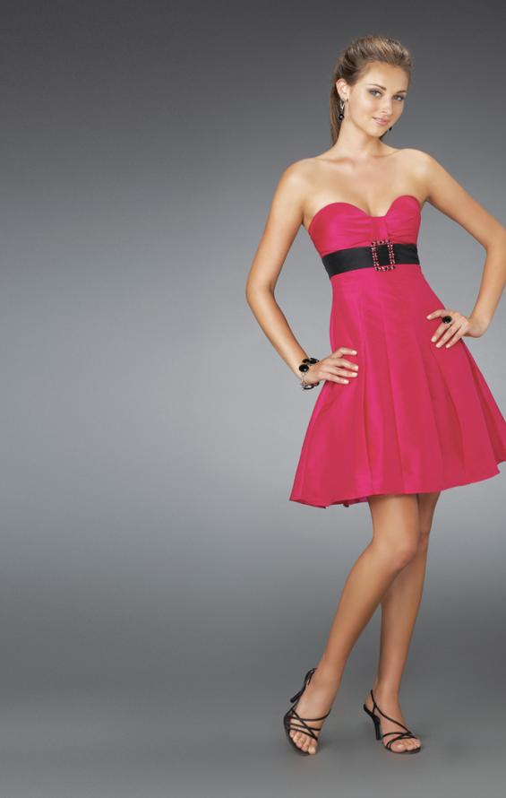Picture of: Short Strapless Dress with Bow Bodice and Pleated Skirt, Style: 14311, Main Picture
