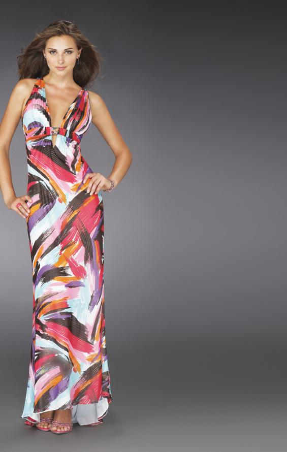 Picture of: Low V Neck Printed Prom Dress with T Shaped Back, Style: 14319, Main Picture
