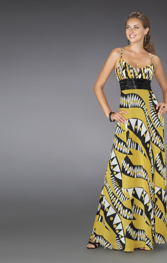 Picture of: Long Printed Halter Gown with Beaded Sash, Style: 14359, Detail Picture 1