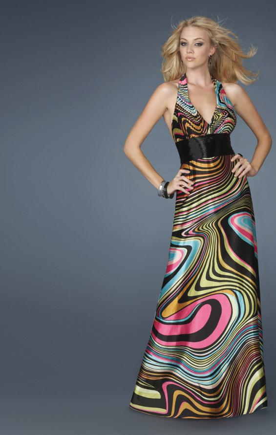 Picture of: Long Printed Halter Gown with Beaded Waistband in Multi, Style: 14369, Main Picture