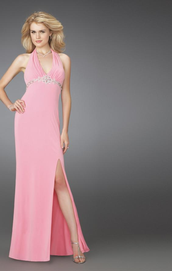 Picture of: Prom Dress with Beaded Belt and Thigh High Slit in Pink, Style: 14389, Main Picture