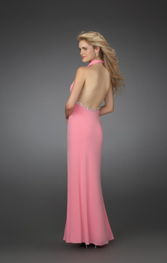 Picture of: Prom Dress with Beaded Belt and Thigh High Slit in Pink, Style: 14389, Back Picture