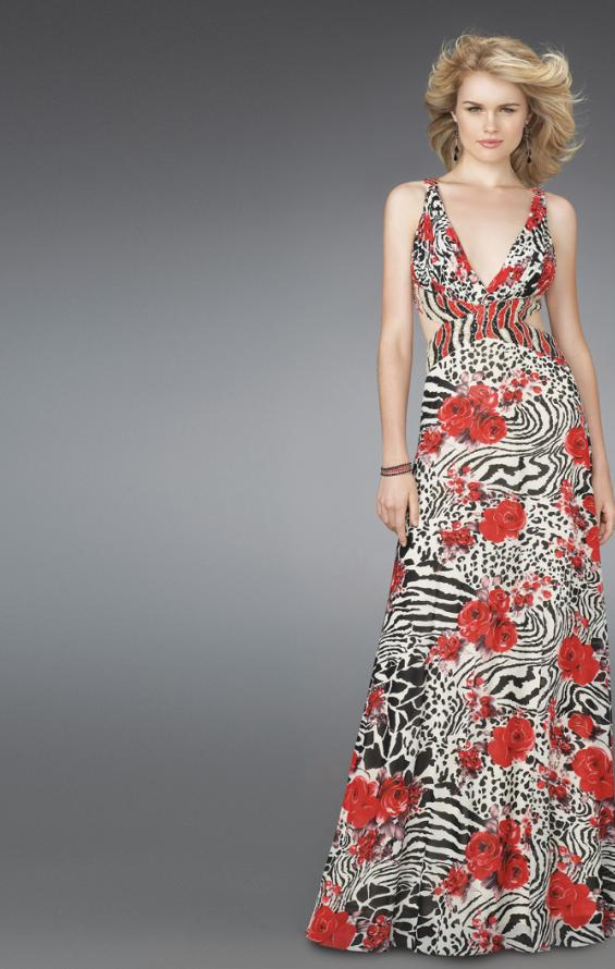 Picture of: Long Printed V Neck Prom Dress with Cut Outs in Multi, Style: 14396, Main Picture