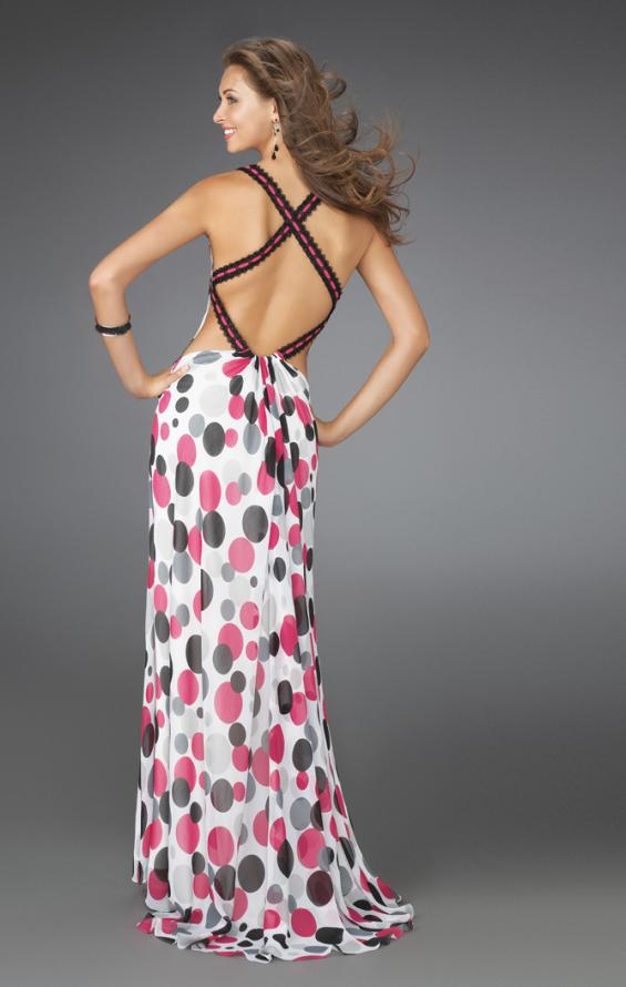 Picture of: Long Printed Halter Gown with Criss Cross Detailing, Style: 14403, Back Picture