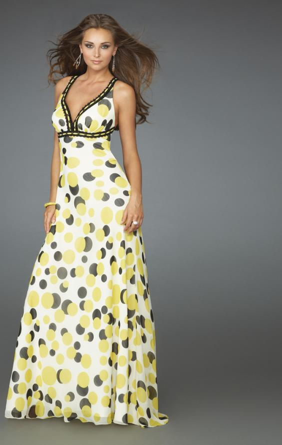 Picture of: Long Printed Halter Gown with Criss Cross Detailing, Style: 14403, Detail Picture 1