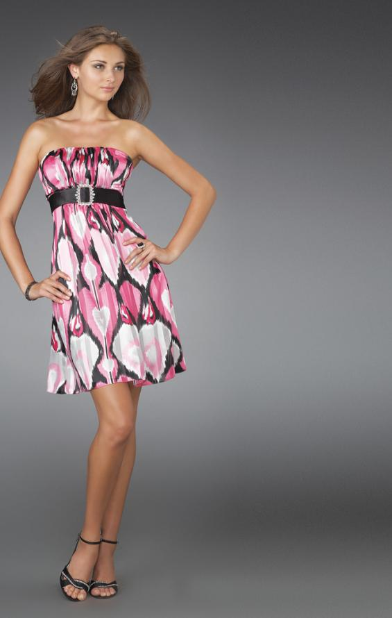 Picture of: Short Strapless Printed Cocktail Dress with Gathered Bodice in Multi, Style: 14424, Main Picture