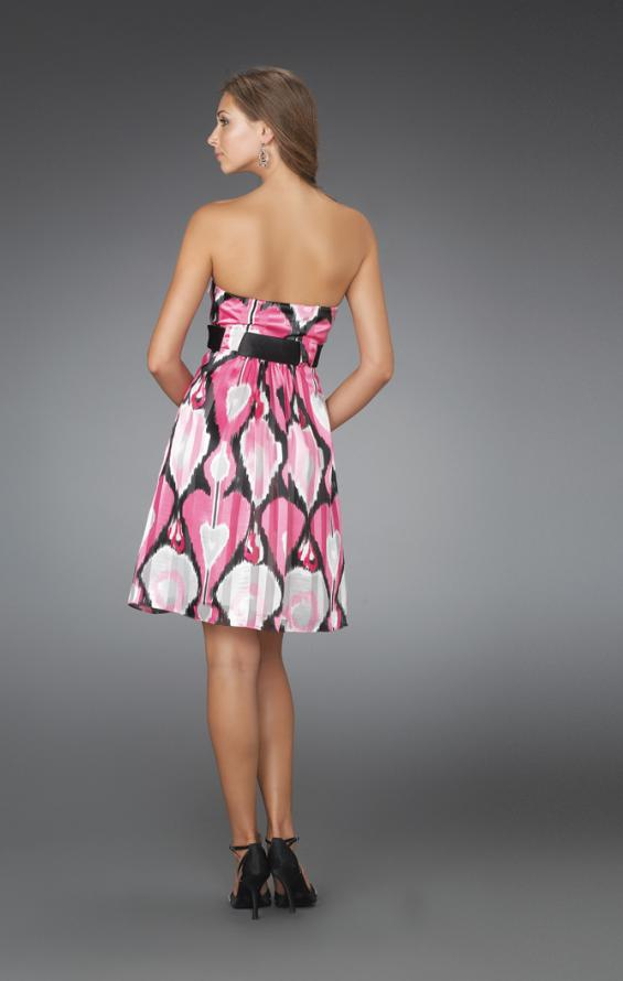 Picture of: Short Strapless Printed Cocktail Dress with Gathered Bodice in Multi, Style: 14424, Back Picture