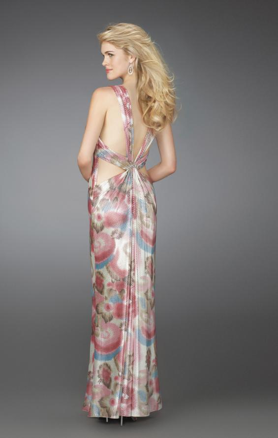 Picture of: Long Printed V Neck Gown with Criss Cross Back, Style: 14441, Back Picture