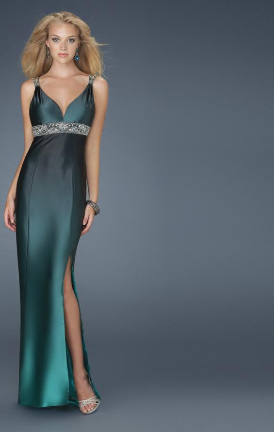Picture of: V Neck Dress with Beaded Straps, Belt, and Open Back, Style: 14456, Main Picture