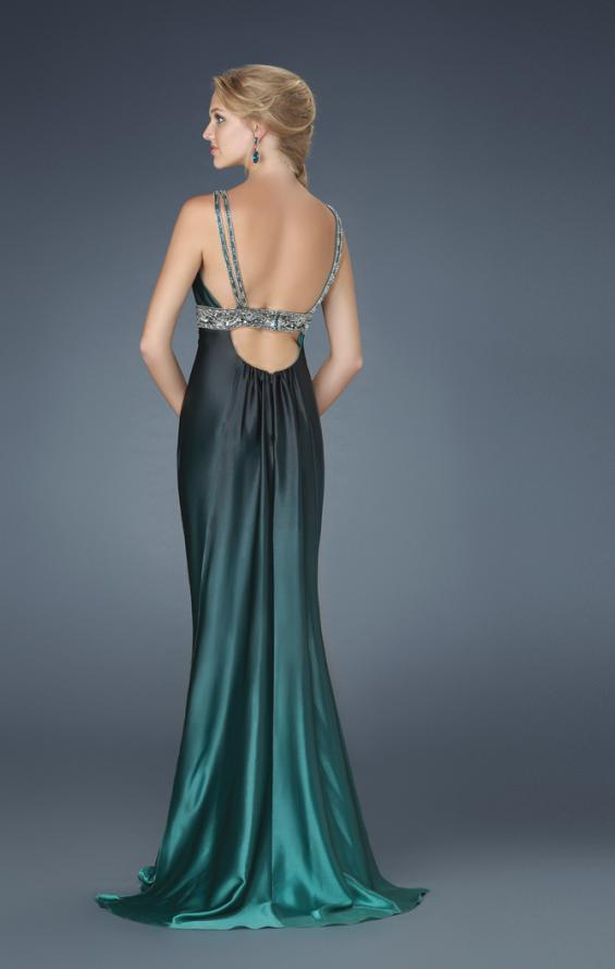 Picture of: V Neck Dress with Beaded Straps, Belt, and Open Back, Style: 14456, Back Picture