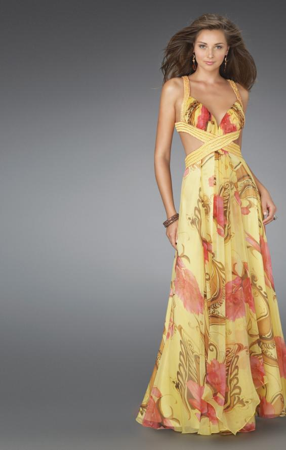 Picture of: Long Printed Prom Gown with Cut Outs and Open Back in Yellow, Style: 14529, Main Picture