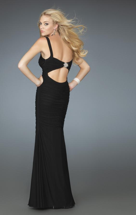 Picture of: Form Fitting Prom Gown with Sweetheart Neckline in Black, Style: 14555, Back Picture