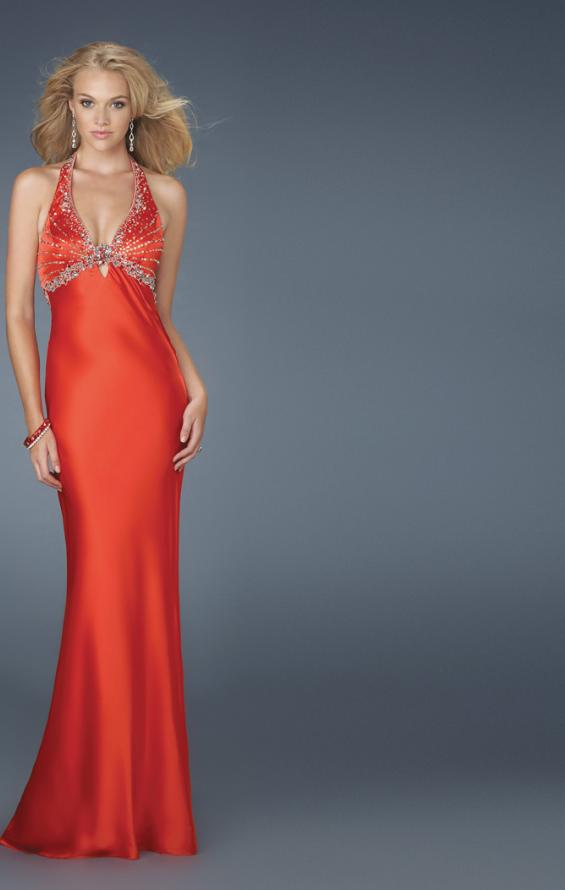 Picture of: Beaded Bodice Low V Neck Halter Prom Dress in Red, Style: 14568, Main Picture