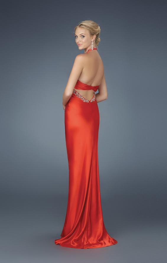 Picture of: Beaded Bodice Low V Neck Halter Prom Dress in Red, Style: 14568, Back Picture