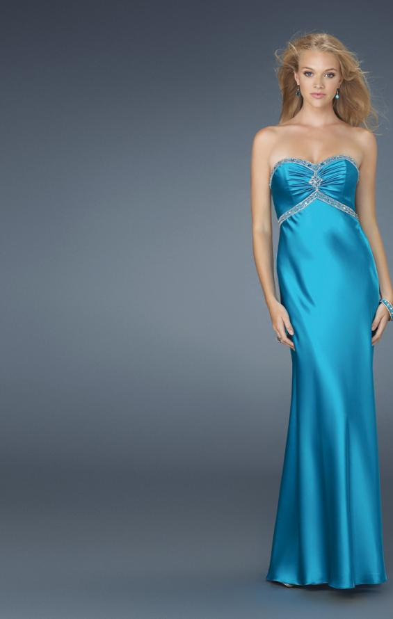 Picture of: Strapless Prom Dress with Beaded Neckline in Blue, Style: 14574, Main Picture