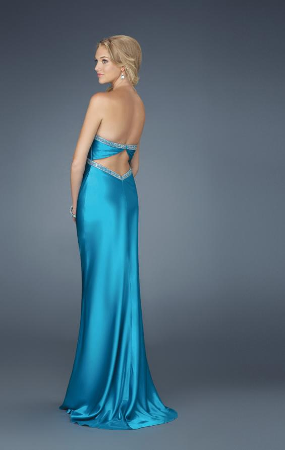 Picture of: Strapless Prom Dress with Beaded Neckline in Blue, Style: 14574, Back Picture