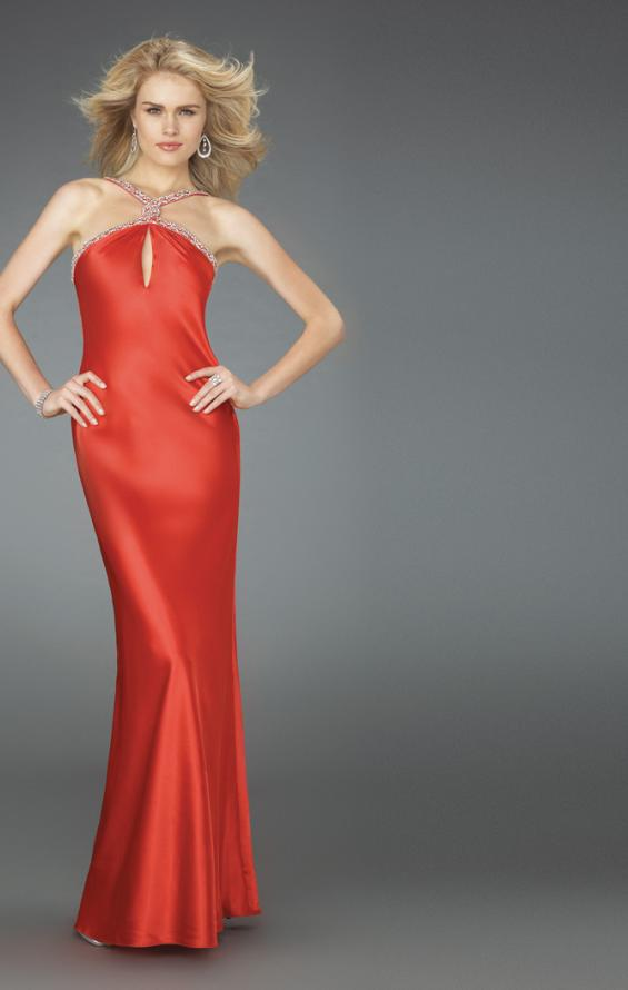 Picture of: Keyhole Halter Prom Gown with Beaded Straps, Style: 14583, Back Picture