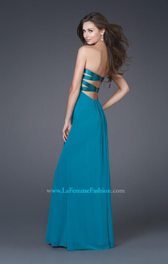 Picture of: Strapless Prom Gown with Satin Bust and Chiffon Skirt in Blue, Style: 14589, Back Picture
