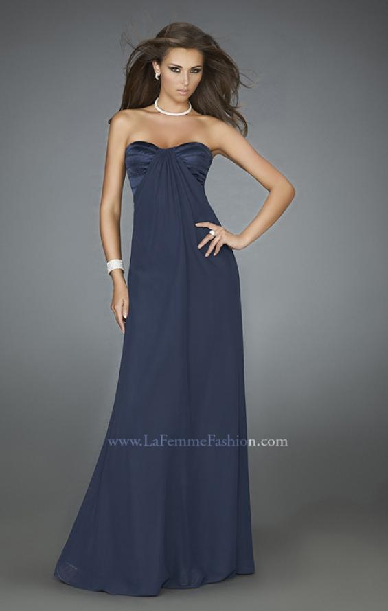Picture of: Strapless Prom Gown with Satin Bust and Chiffon Skirt in Blue, Style: 14589, Detail Picture 1