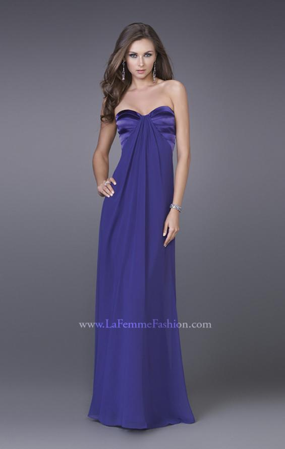 Picture of: Strapless Prom Gown with Satin Bust and Chiffon Skirt in Purple, Style: 14589, Detail Picture 2