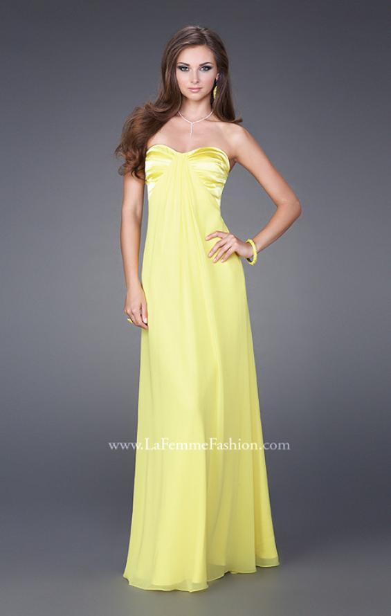 Picture of: Strapless Prom Gown with Satin Bust and Chiffon Skirt in Yellow, Style: 14589, Detail Picture 3