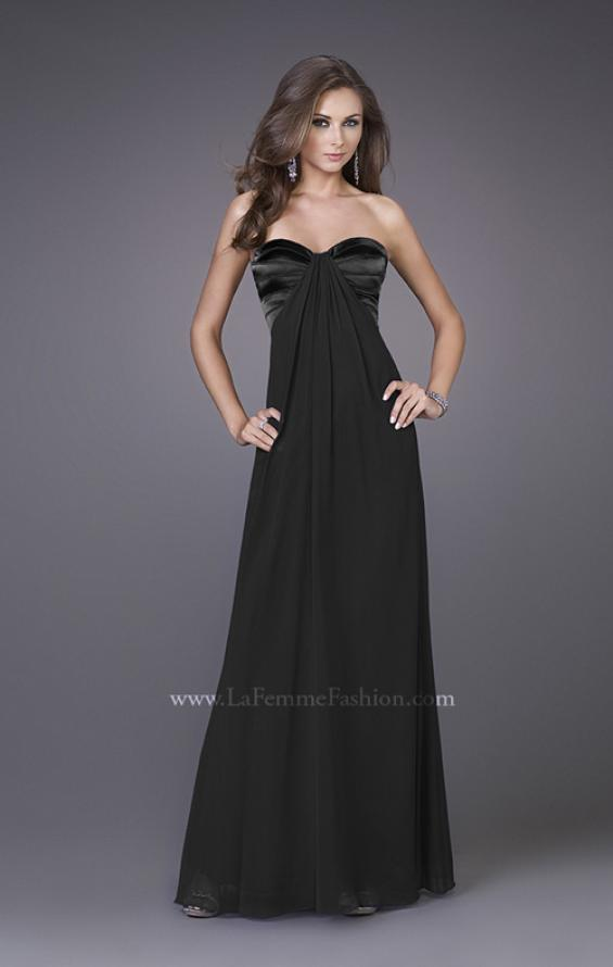 Picture of: Strapless Prom Gown with Satin Bust and Chiffon Skirt in Black, Style: 14589, Detail Picture 4