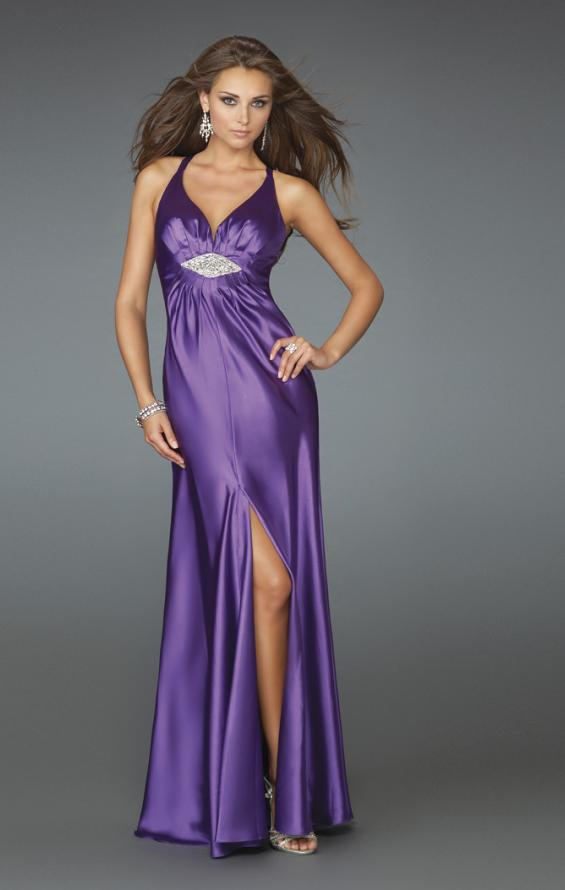 Picture of: Deep V Neck Prom Dress with Center Slit in Purple, Style: 14600, Main Picture