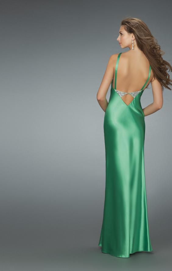 Picture of: Deep V Neck Prom Dress with Center Slit in Green, Style: 14600, Back Picture