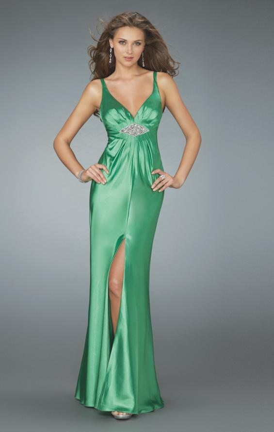 Picture of: Deep V Neck Prom Dress with Center Slit in Green, Style: 14600, Detail Picture 1