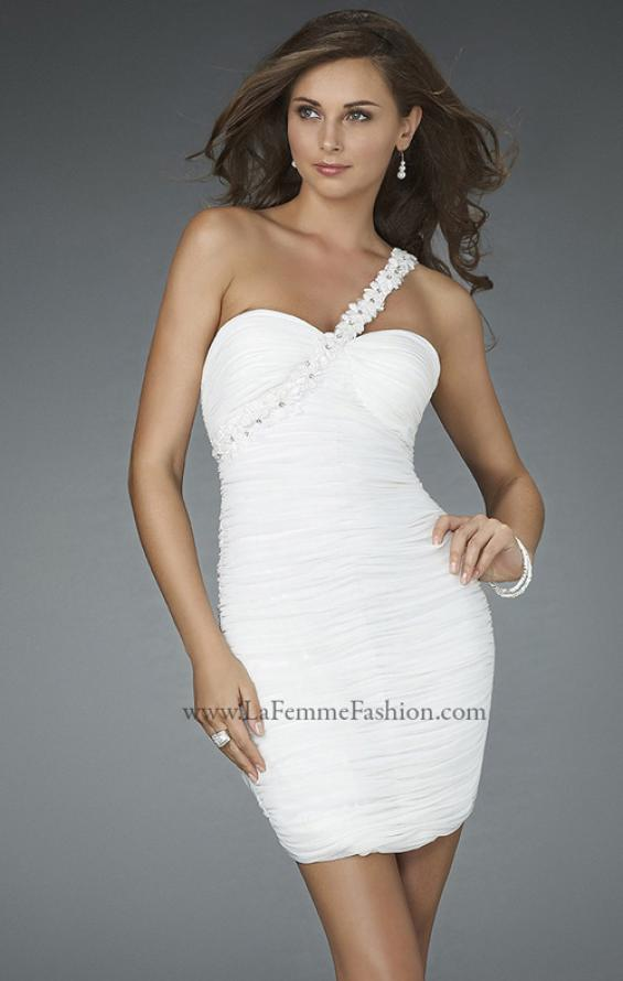 Picture of: Short Dress with All Over Ruching and Floral Beaded Strap in White, Style: 14612, Detail Picture 1
