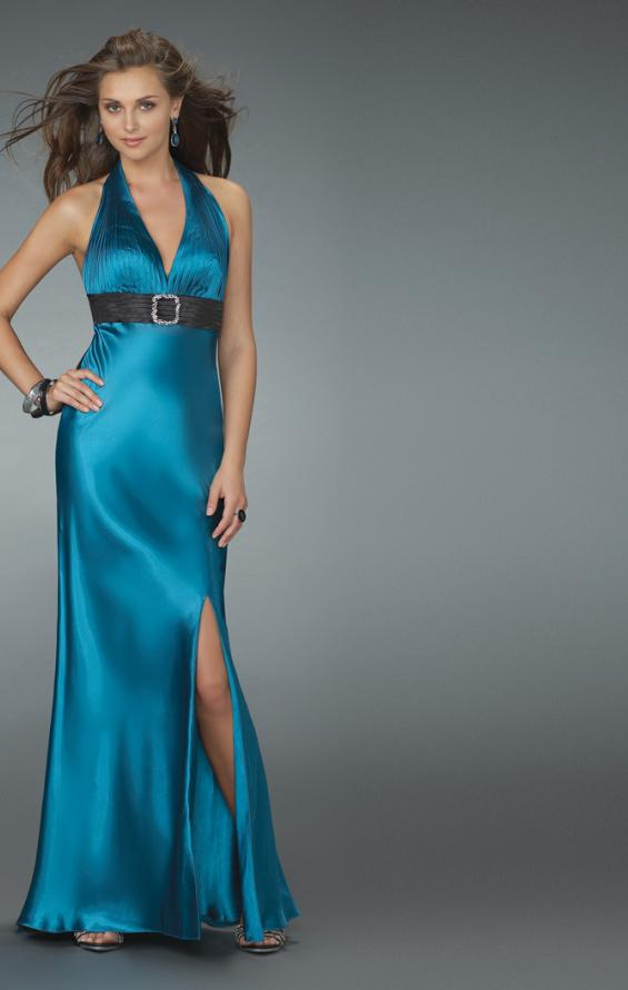 Picture of: Halter Prom Gown with Thigh High Slit in Blue, Style: 14672, Main Picture