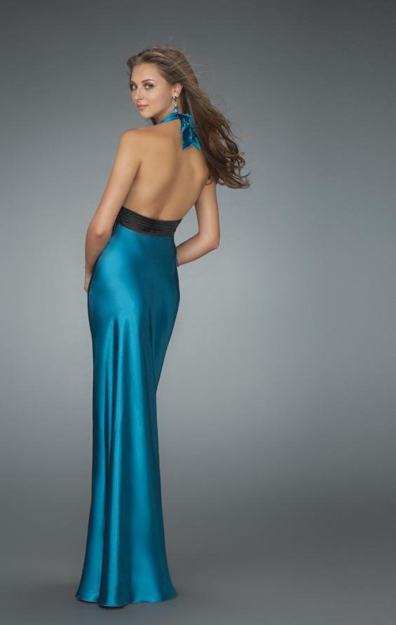Picture of: Halter Prom Gown with Thigh High Slit in Blue, Style: 14672, Back Picture
