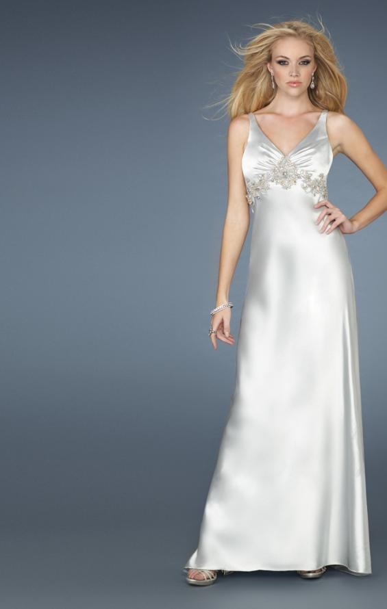 Picture of: Long Prom Dress with V Neckline and Empire Waist Belt, Style: 14710, Main Picture