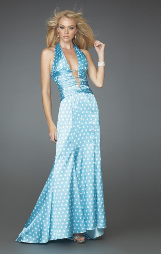 Picture of: Deep V Halter Gown with Across the Back Straps, Style: 14763, Main Picture
